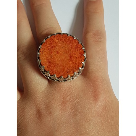 Sterling Silver ring and natural coral stone PutitontheRed, Bijuterii de argint lucrate manual, handmade