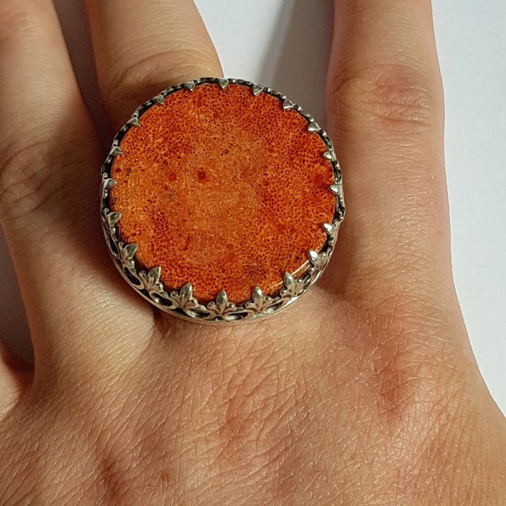 Sterling Silver ring and natural coral stone PutitontheRed