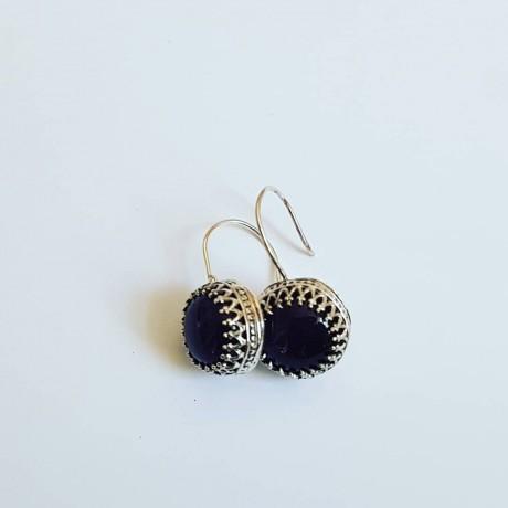 Sterling silver earrings and natural amethyst stones StandUpforMauve, Bijuterii de argint lucrate manual, handmade