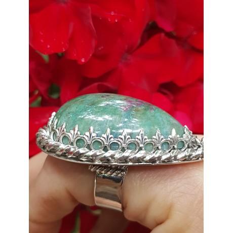 Large Sterling silver ring zoisite PeachyLove, Bijuterii de argint lucrate manual, handmade