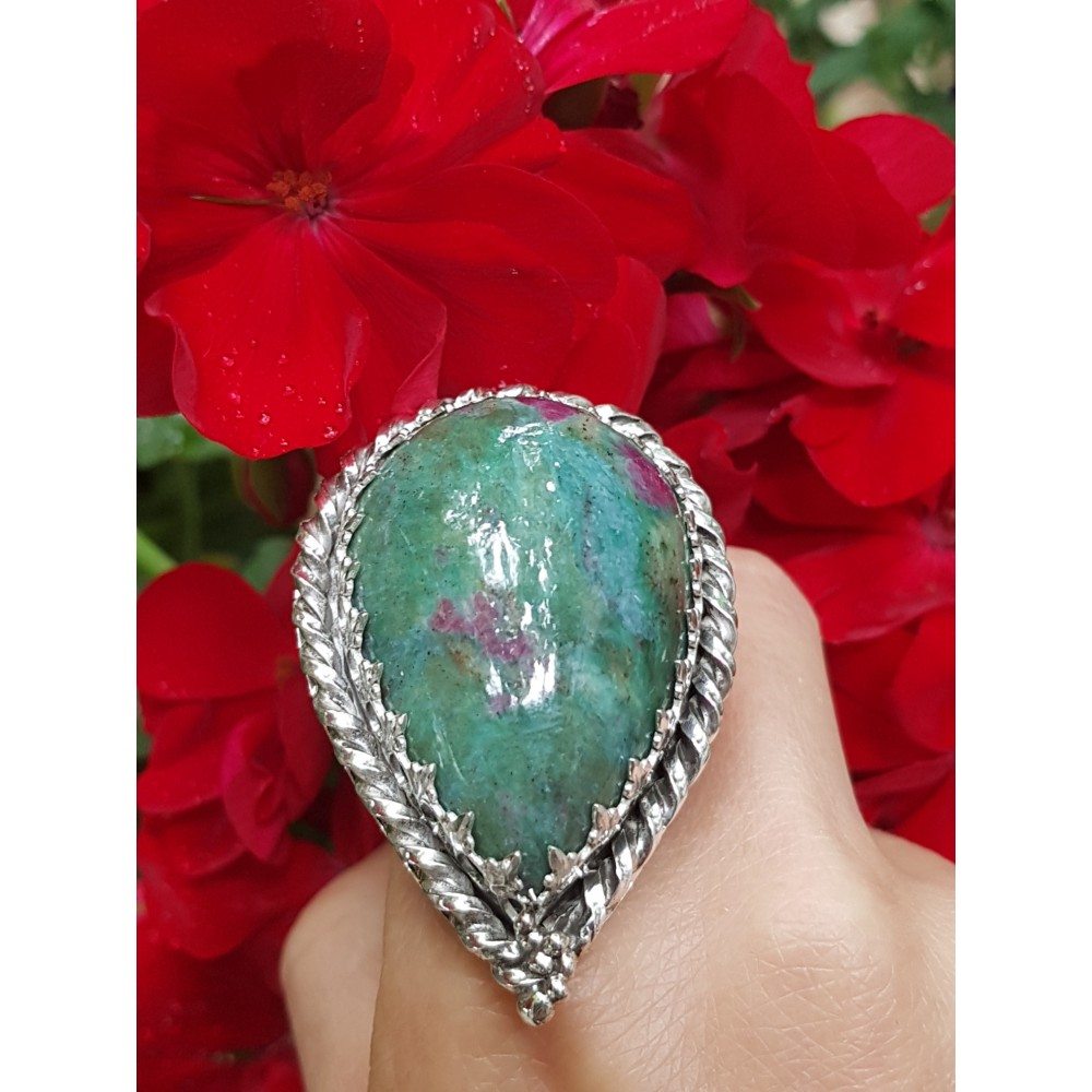 Large Sterling silver ring zoisite PeachyLove