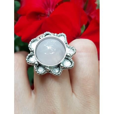 Sterling silver ring and natural quartz Cloudy Pink, Bijuterii de argint lucrate manual, handmade