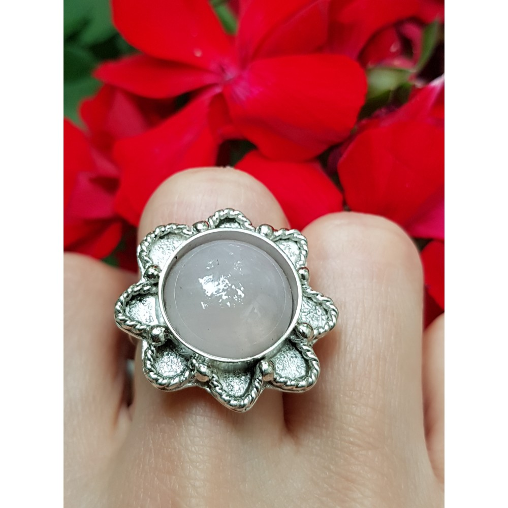 Sterling silver ring and natural quartz Cloudy Pink