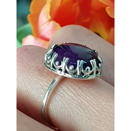 Sterling silver ring with natural amethyst stone Bounty & Mauve