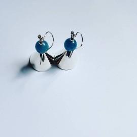 Sterling silver earrings and angelite, Bijuterii de argint lucrate manual, handmade