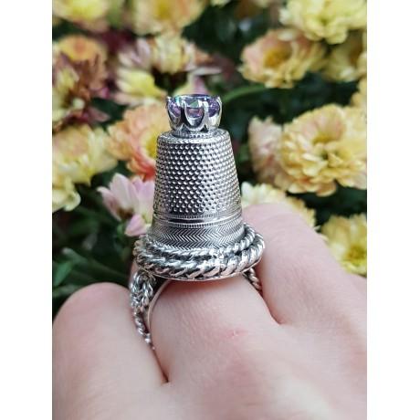 Sterling silver ring and amethyst FullErection, Bijuterii de argint lucrate manual, handmade