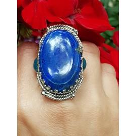 Sterling silver ring and lapislazuli and aquamarines Wonderment
