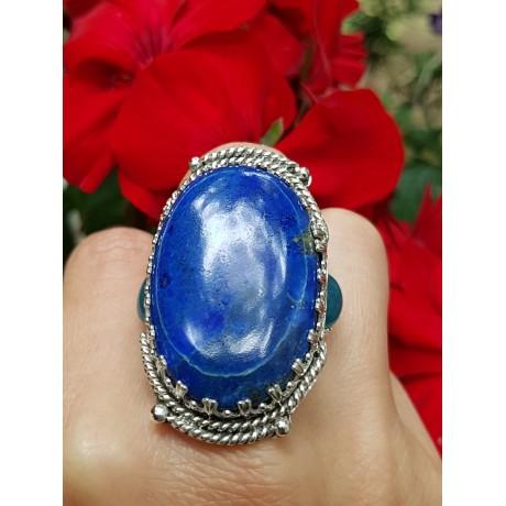 Sterling silver ring and lapislazuli and aquamarines Wonderment, Bijuterii de argint lucrate manual, handmade