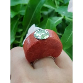 Sterling silver ring with natural coral stone TotheTop