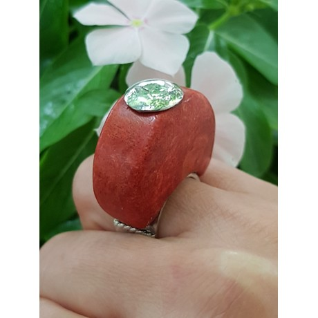 Sterling silver ring with natural coral stone TotheTop, Bijuterii de argint lucrate manual, handmade