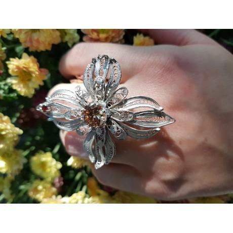 Sterling silver ring and citrine FlowerServing, Bijuterii de argint lucrate manual, handmade