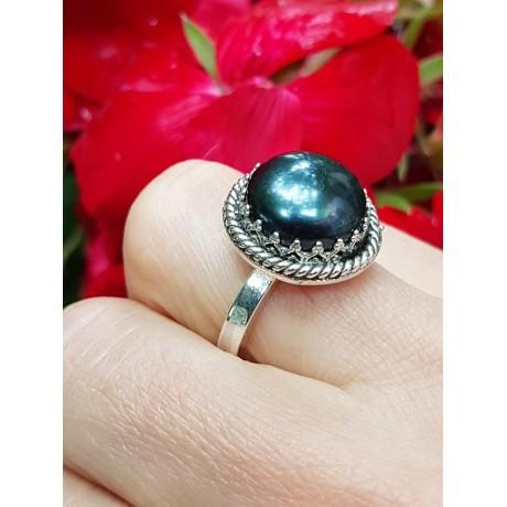 Sterling silver ring with natural cultured pearl SmokyLove, Bijuterii de argint lucrate manual, handmade