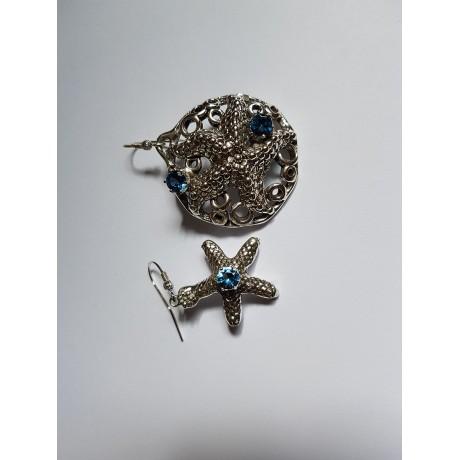 Sterling silver earrings and aquamarines StayMariner, Bijuterii de argint lucrate manual, handmade