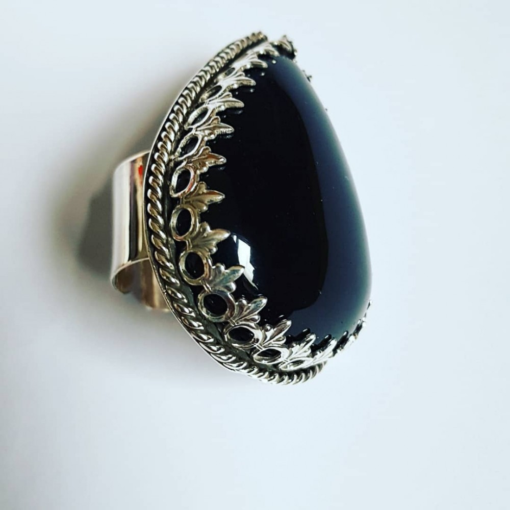 Sterling silver ring with natural Obsidian All Flavours of Love