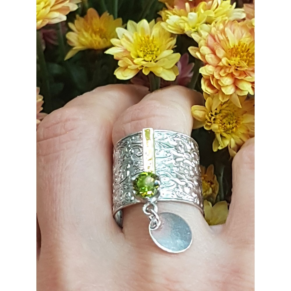 Sterling silver, 14kgold and peridote ring Green Honey