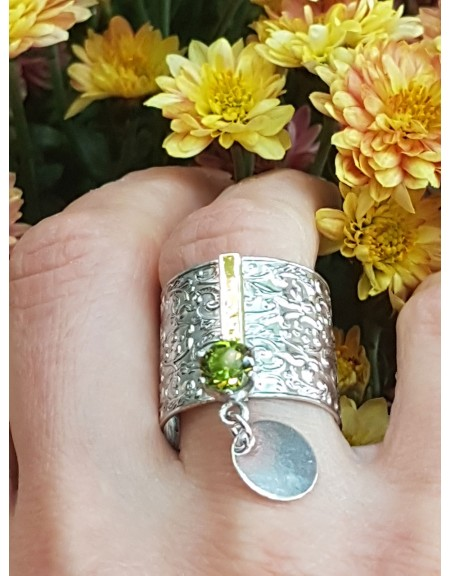 Sterling silver, 14kgold and peridote ring Green Honey, Bijuterii de argint lucrate manual, handmade