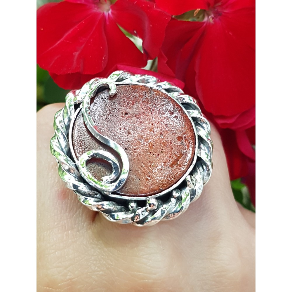 Sterling silver ring with natural coral stone Fierce&Red