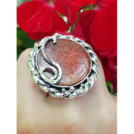 Sterling silver ring with natural coral stone Fierce&Red, Bijuterii de argint lucrate manual, handmade