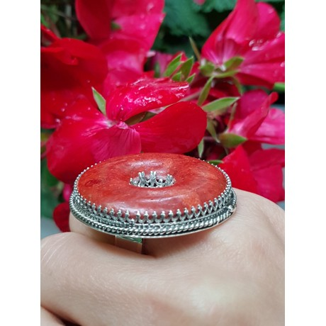 Sterling silver ring with red coral RedismyTotemColour, Bijuterii de argint lucrate manual, handmade