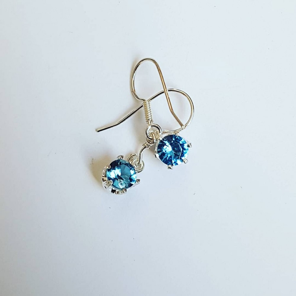 Sterling silver earrings and dalloz aquamarines