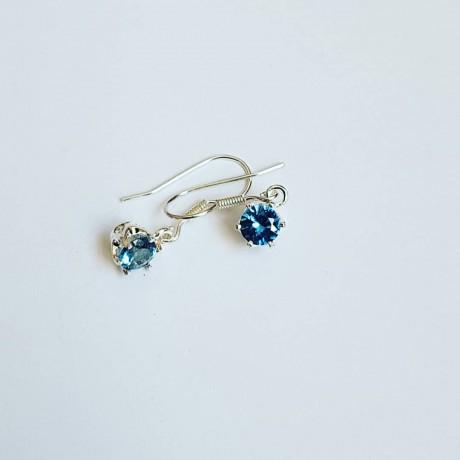 Sterling silver earrings and dalloz aquamarines, Bijuterii de argint lucrate manual, handmade