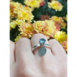 Sterling silver ring and aquamarine AquaFlirt, Bijuterii de argint lucrate manual, handmade