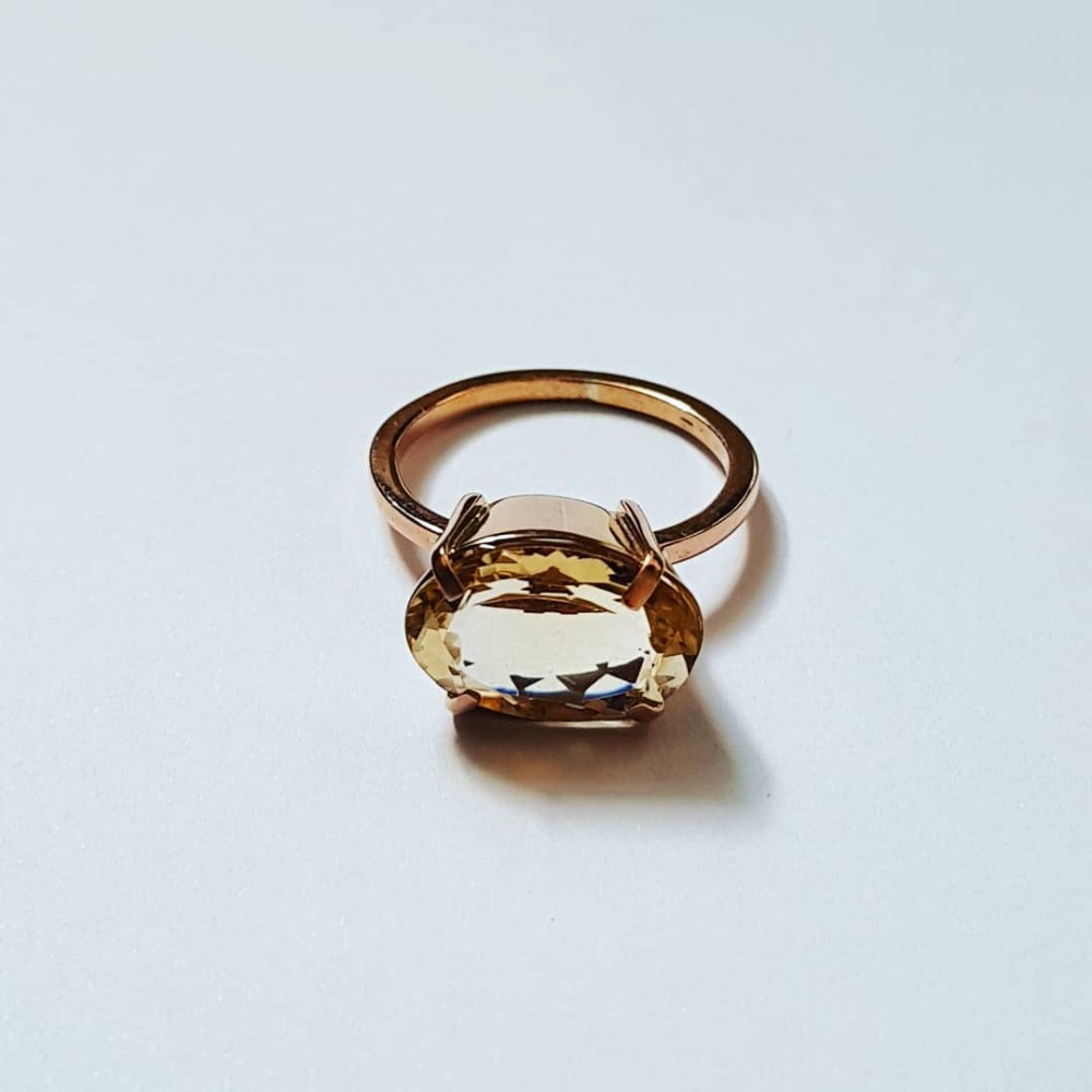 14k rose gold ring with natural citrine HighonRoseGold