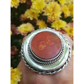 Sterling silver ring with natural coral stone RedSpin, Bijuterii de argint lucrate manual, handmade