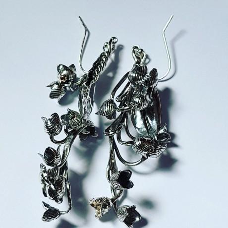 Silver floral earrings Love is loong bearing, Bijuterii de argint lucrate manual, handmade