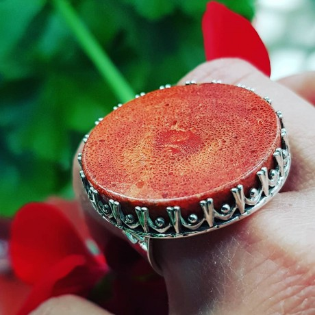Sterling silver ring with natural coral stone Replete with Red, Bijuterii de argint lucrate manual, handmade