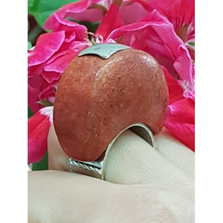 Sterling silver ring with natural coral stone ArchRed, Bijuterii de argint lucrate manual, handmade