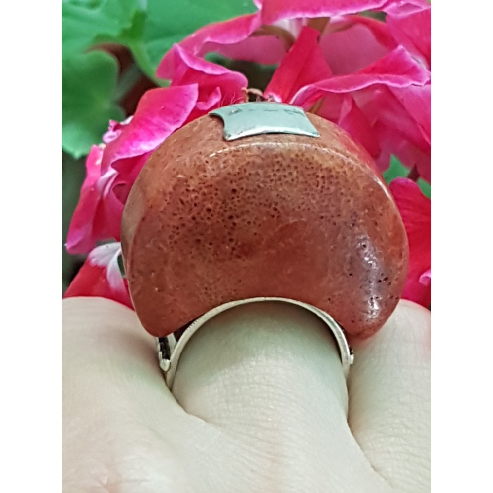 Sterling silver ring with natural coral stone ArchRed
