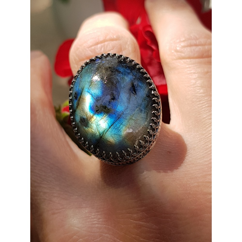 Sterling silver ring with natural labradorite ApprenticetoLove