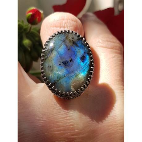 Sterling silver ring with natural labradorite ApprenticetoLove, Bijuterii de argint lucrate manual, handmade