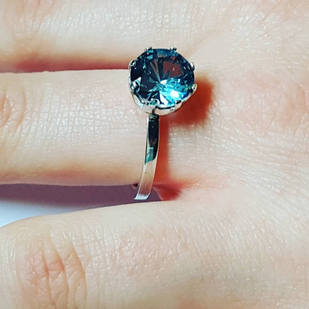Sterling silver ring and aquamarine BluenevergoesoutofFashion
