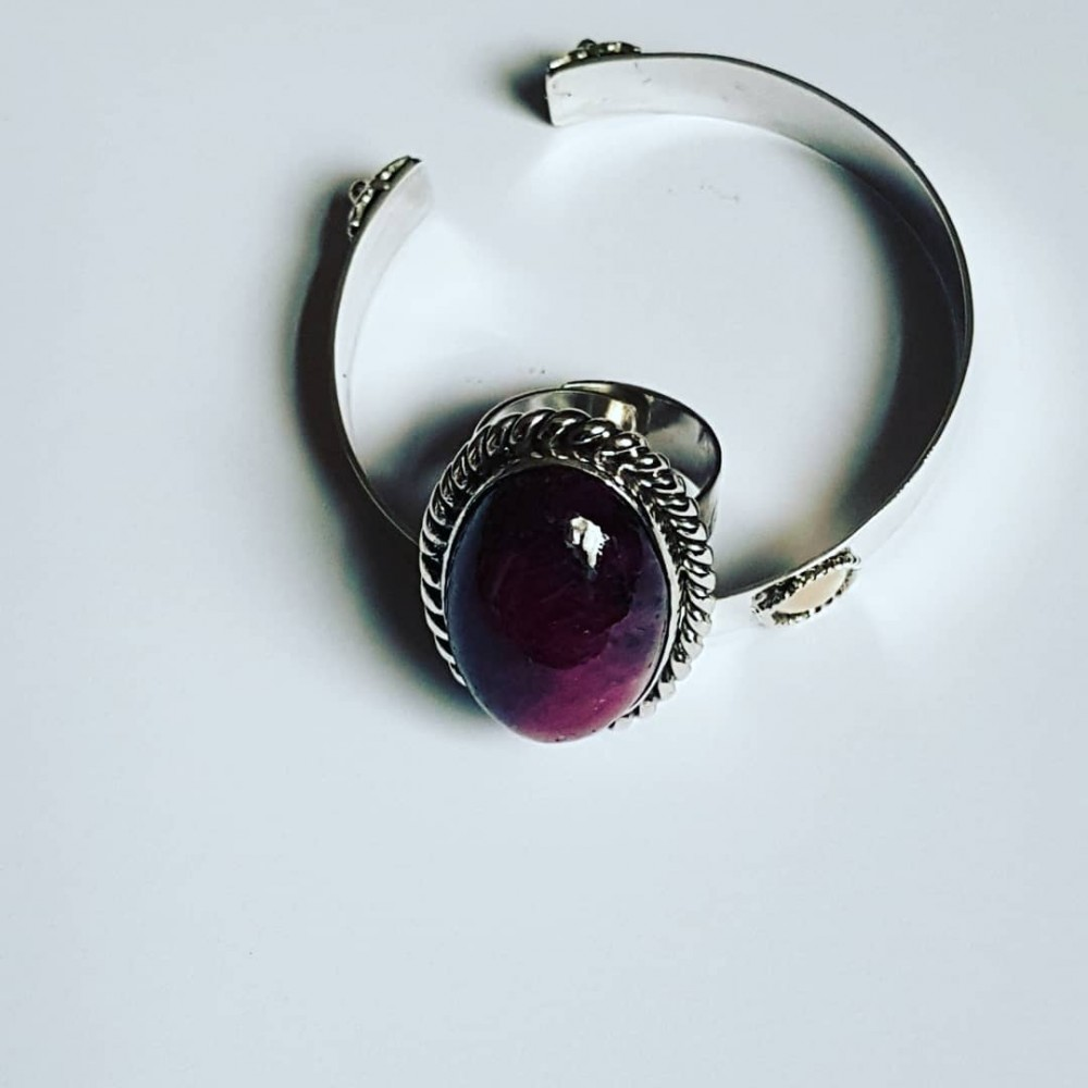 Sterling silver ring with natural ruby zoisite GoRubic