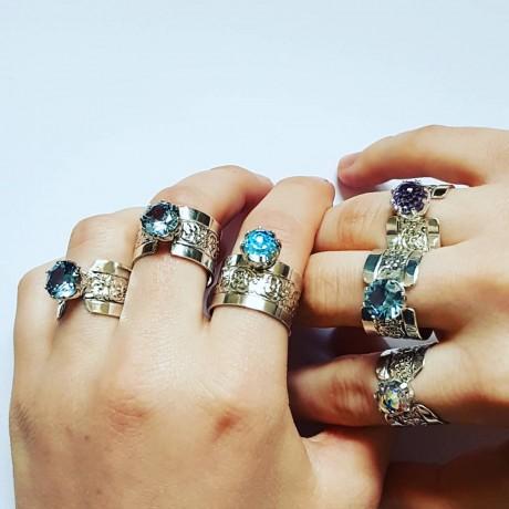 Sterling silver ring with natural Swarovski crystal LightBlue Leperchau, Bijuterii de argint lucrate manual, handmade