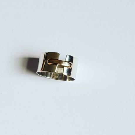 Sterling silver and gold engagement ring BondandTies, Bijuterii de argint lucrate manual, handmade