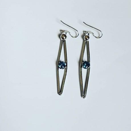 Sterling silver earrings and aquamarines LoveandDaggers, Bijuterii de argint lucrate manual, handmade