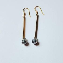 Sterling silver and 14k Gold earrings Golden Fibulae, Bijuterii de argint lucrate manual, handmade
