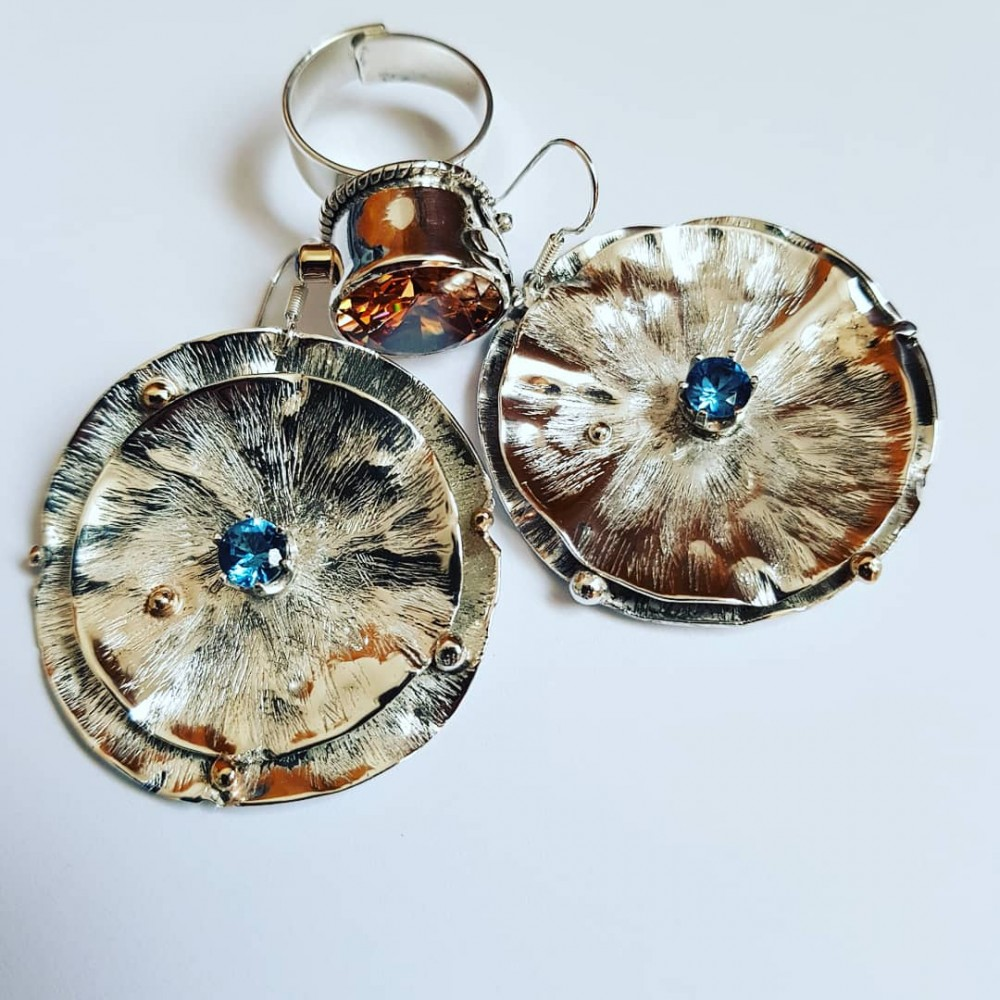 Sterling silver earrings and aquamarines AquaDreams