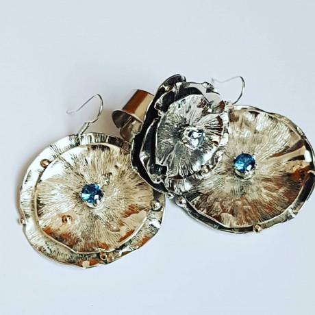 Sterling silver earrings and aquamarines AquaDreams, Bijuterii de argint lucrate manual, handmade