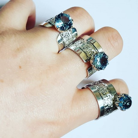 Sterling silver ring and aquamarine HindandForeLove, Bijuterii de argint lucrate manual, handmade