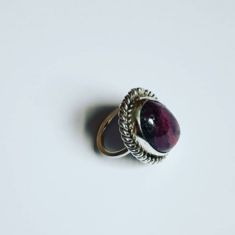 Sterling silver ring with natural ruby zoisite, Bijuterii de argint lucrate manual, handmade