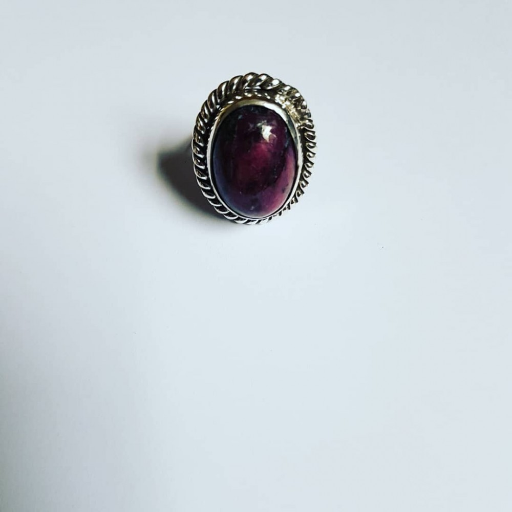 Sterling silver ring with natural ruby zoisite