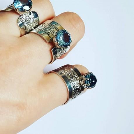 Sterling silver ring with aquamarine GatesofBlue, Bijuterii de argint lucrate manual, handmade