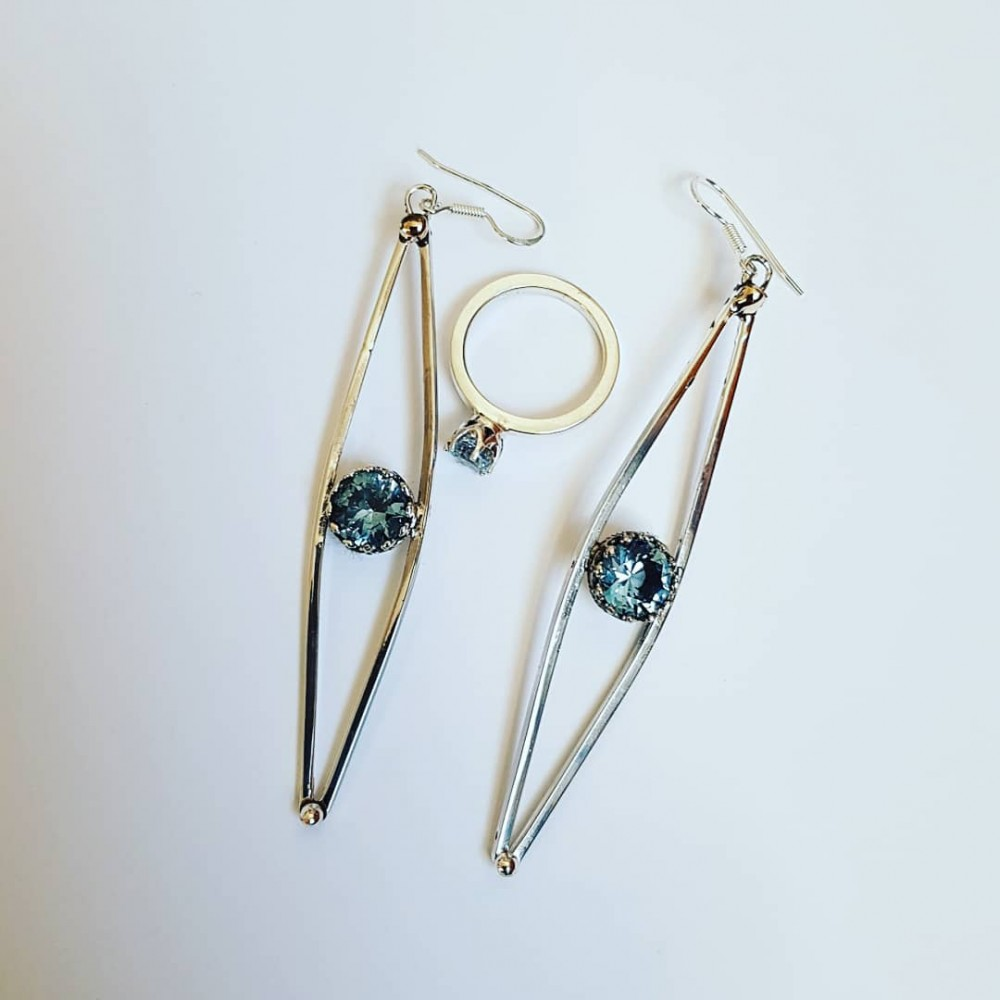 Sterling silver earrings and aquamarines