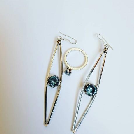 Sterling silver earrings and aquamarines, Bijuterii de argint lucrate manual, handmade
