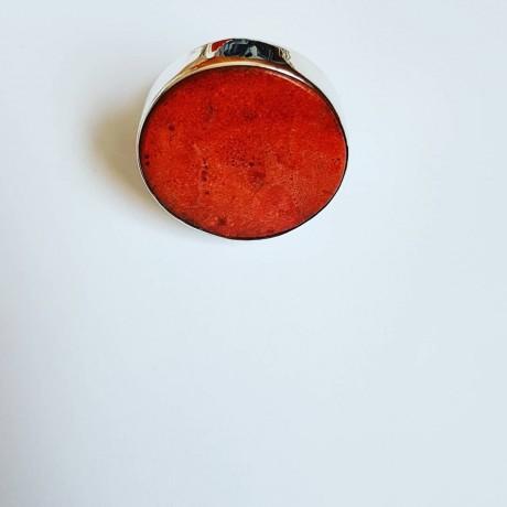 Sterling silver ring with natural coral stone DeepMagenta, Bijuterii de argint lucrate manual, handmade