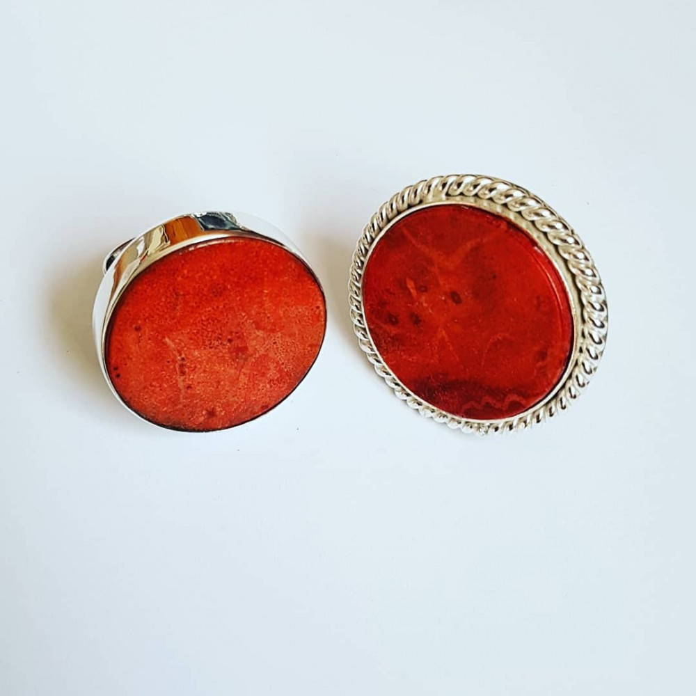 Sterling silver ring with natural coral stone DeepMagenta